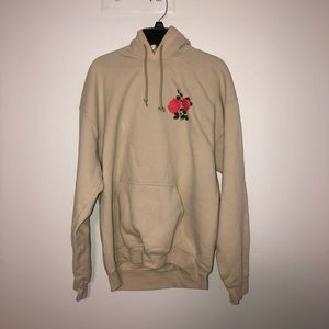 Cream Hoodie with Rose Designs